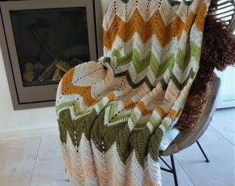 Crochet chevron blanket crochet afghan crochet blanket chevron blanket striped blanket chevron afghan chevron throw crochet throw