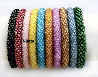 beaded bracelet jewelry stacking bracelets yoga bracelet bead wristband seed bead rope roll on crochet rope bangle 11 COLORS egst Niatta