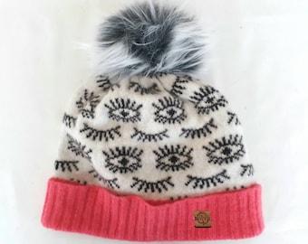 Eye Spy - Cozy lambswool winter hat with pompom