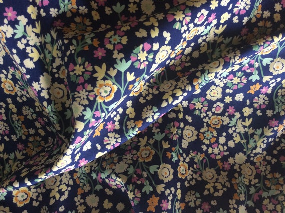 High quality cotton poplin printed in Japan, floral on blue