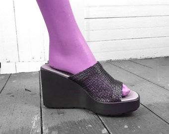 90s Platform Slides in Silver Gunmetal- Vintage Faux Chainmail- Franco Sarto Sandals- Size 9- Buffy Spice Girls Clueless