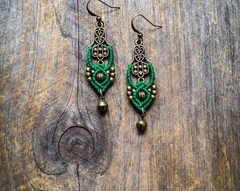 Macrame earrings Fatima Hand hamsa antique brass boho chic earrings bohemian jewelry by Creations Mariposa