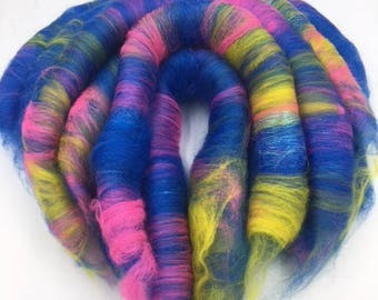 Hand Pulled Rolags, Merino & Angelina Fibre, 100g