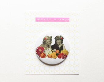 Flower Portrait Pocket Mirror 76mm / 3 inches - Flower Collectors