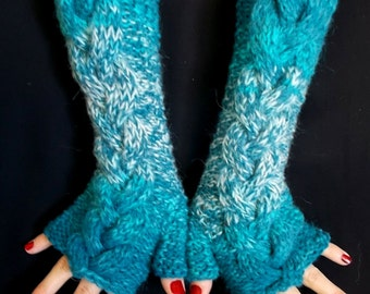 Fingerless Gloves Turquoise Blue Shades Angora Mohair Mittens Cabled Hand Knitted Extra Soft and Warm Women Gloves