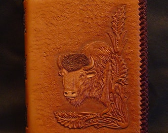 Handmade leather book.  Hand tooled carved Bison Head.  Blank Book Bespoke Made to Order