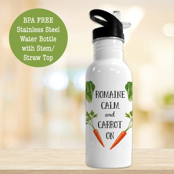 Stainless Steel Water Bottle - Romaine Calm and Carrot On - Funny Veggie - Eco Friendly Water Bottle
