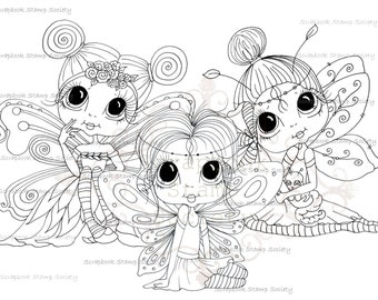INSTANT DOWNLOAD digitale Digi Stamps Big Eye Big hoofd poppen Digi Wee gevleugelde degenen Besties door Sherri Baldy