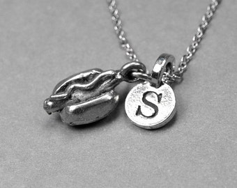 Hotdog Necklace, fast food charm, antiqued silver plated pewter, initial necklace, initial hand stamped, personalized, monogram