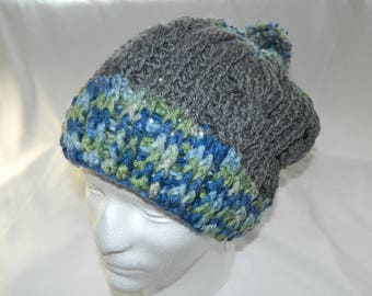 Crocheted Heather Gray Cabled Beanie Hat With Blue and Green Highlights