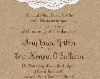 Wedding Invitations -Craft Paper and Doily