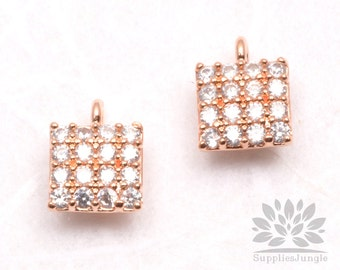 P478-RG// Rose Gold Plated 5mm Cubic Cube Pendant, 1 pc