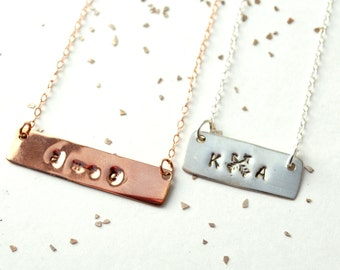 custom name date monogram bar rose gold silver necklace