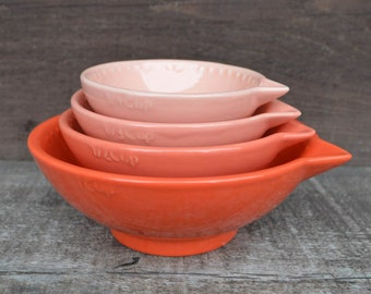 Shades of Coral Nesting Ceramic Measuring Cups - Ombre - 1 Cup, 1/2 Cup, 1/3 Cup, 1/4 Cup - Neon Coral / Pink / Orange - Made to Order