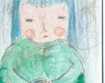 Original ACEO Watercolor Painting-  I will Wait