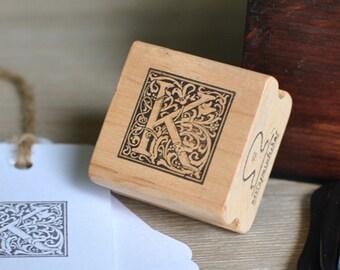 Letter K Rubber Stamp, Monogram K stamp, Wood Mounted Rubber Stamp, Alphabet letter K stamp