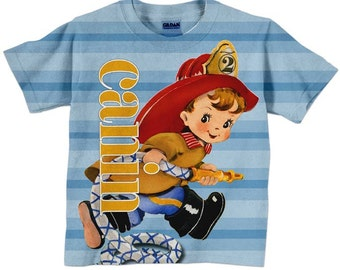 Fireman T-Shirt, Personalized Boys Firefighter Birthday Shirt