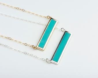 Gold Gift for Girlfriend, Modern Minimal Turquoise Necklace Bar, Turquoise Blue Necklace Gold, Turquoise Crystal Pendant, 14kt Filled