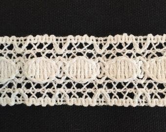"White Crocheted Cotton Lace Trim-1 3/8"" Wide-106"