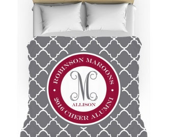 Monogram Bedding - Custom School Colors Dorm Comforter w/matching cases -Teen Bedding Set - Personalize with Name or Monogram