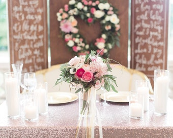 New! Rose Gold Sequin Table Cloth