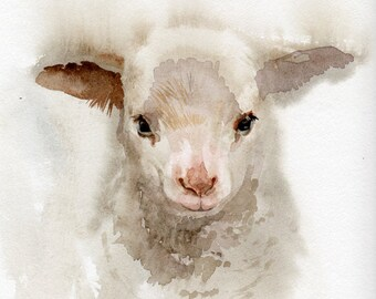 Lamb print Nursery art, GICLEE print, baby shower gift