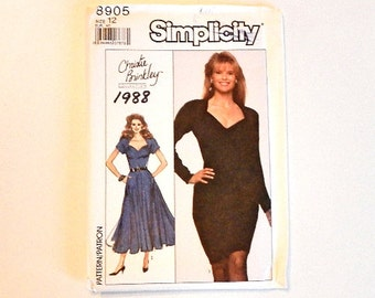 Vintage Simplicity Sewing Dress Pattern 8905 Size 12 Christie Brinkley Collection 1988