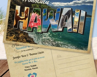 Hawaiian Destination Save the Date Postcard (Maui, Honolulu, Oahu, Hawaii)