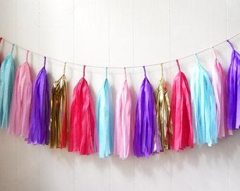 Free Shipping - Pink Blue Purple Gold Tassel Garland - Wedding Decor - Room decor - Nursery Decor - Photo Prop