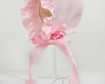 The Sarah Pink Baby Girl Spring Bonnet