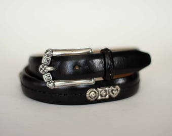 vintage brighton belt black leather with silver buckle size M/30