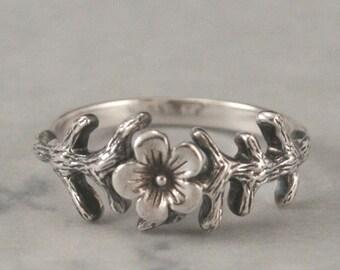 Cherry Blossom Ring--Sterling Silver Cherry Blossom Branch Ring--Custom Sized--Flower Blossom Band