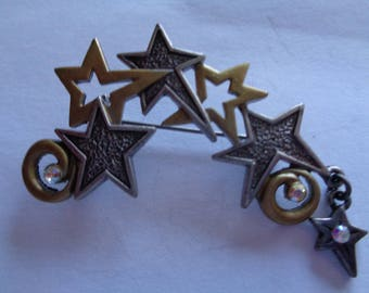 Vintage Signed DD Silvertone/Goldtone/AB Stones Shooting Stars Brooch/Pin