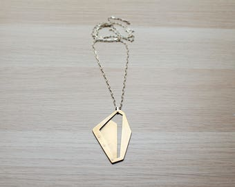 Geometric Necklace in Brass and Silver