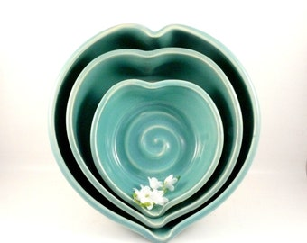 Nesting Bowls Heart Shaped Stacking Bowls Something Blue pottery and ceramics 1st Anniversary Gift 9th Anniversary Gift Kitchen Decor