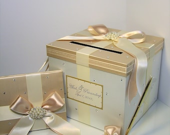 Wedding Card Box 3 Sets,1 tier Champagne and Ivory Card Box Guest book and Pen/Pen Holder Gift Card Box Money Box -Customize your color