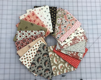 19 Civil War Pink and Brown Bubblegum and Chocolate Reproduction Quilt Fabric Fat Quarter Bundle Free Ship