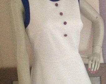 Vintage Mod  60s Shift Dress Blue & White