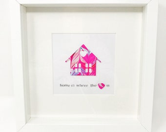 Home is Where the Heart Is - Hand Marbled Paper