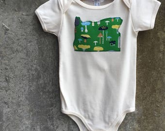 Baby Bodysuit - Mushroom Design Oregon State Shape - Fun Birthday or Baby Shower Gift - Photo Shoot Outfit - Other States By Request