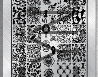 Nail art stamping plate Eynails Halloween 10