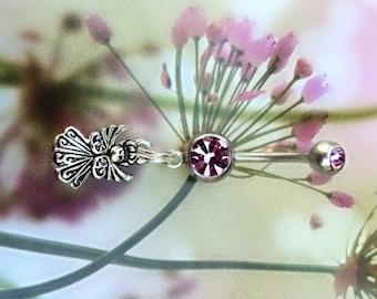 Angel, Amethyst Gems, 14 gauge, Navel Ring,
