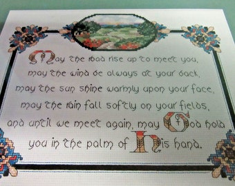 Irish Blessing Counted Cross Stitch Kit 9.5 x 7.5 Embroider Floss Directions Cloth Included Housewarming Gift Hostess DIY New Unused