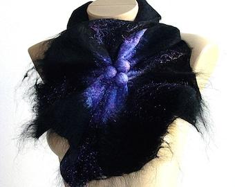 Multicolor purple Black Felted Wool Scarf Neckpiece Collar. Felted Wrap scarf. Chunky scarf Shibori