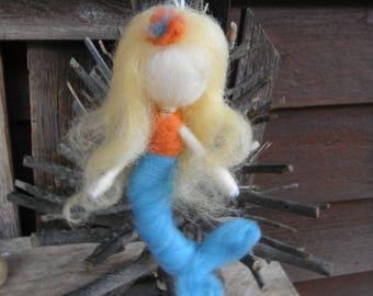 Waldorf Inspired Needle Felted Mermaid Doll - Aqua and Orange