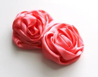 2 Large Satin Rolled Rose/Rosettes--Coral