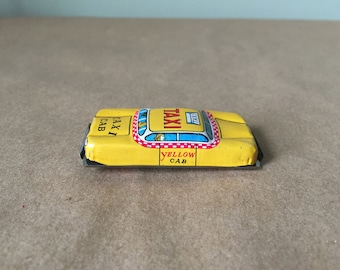 Toy Yellow Taxi Cab Pin Shadow Box Toy Car
