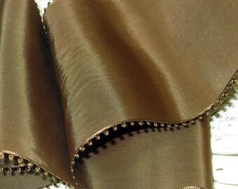 "1y 5"" CHOCOLATE PICOT BROWN Vintage Taffeta Ribbon Rayon Millinery Hat Trim Ribbonwork Bow Art Deco Flapper French Cloche Cocarde"