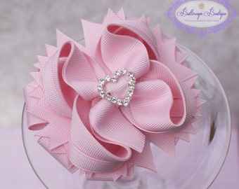 Light pink hair bow, Pink layered hair bow, layered boutique bow