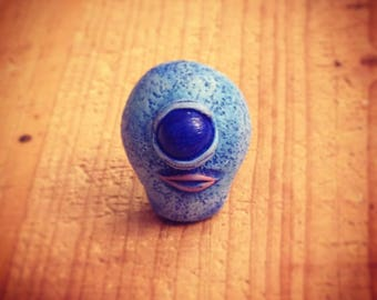 Blue Cyclops Monster mini sculpture